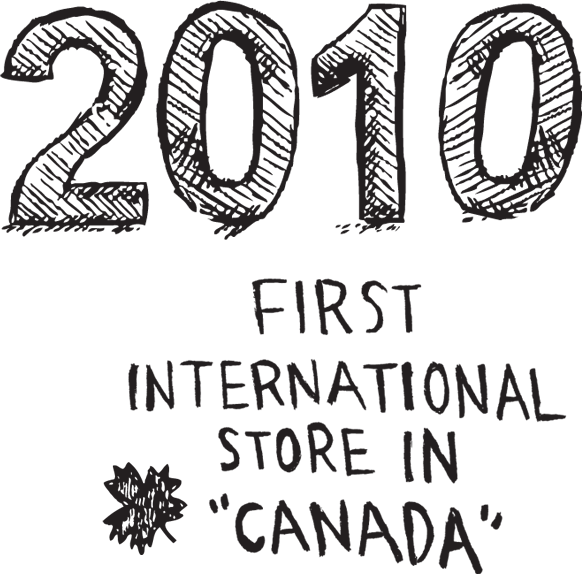 2010, first international store in canada